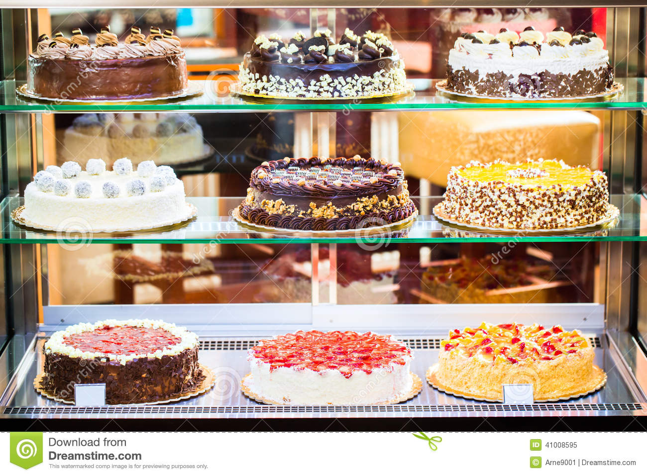 Bakery Display Cabinet Pastry Shop In Glass Cabinet Display Stock Image Image Of Bakery