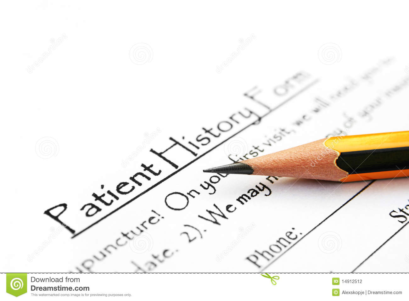 Business Plan Writer Business Plan Consultant Butler Patient History Form Stock Photography Image 14912512