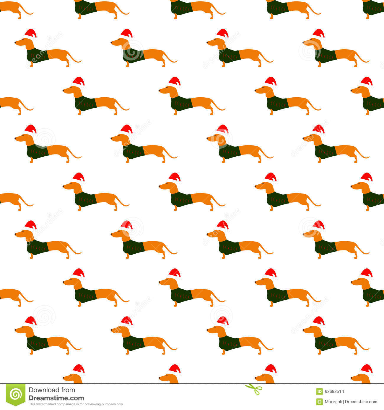 Cute Dachshund Wallpaper Pattern With Dachshund In Christmas Suit Cartoon Vector