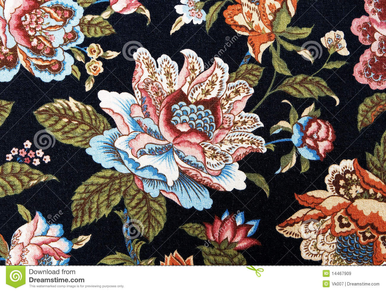Victorian Wallpaper Black Pattern Of An Ornate Colorful Floral Tapestry Royalty Free