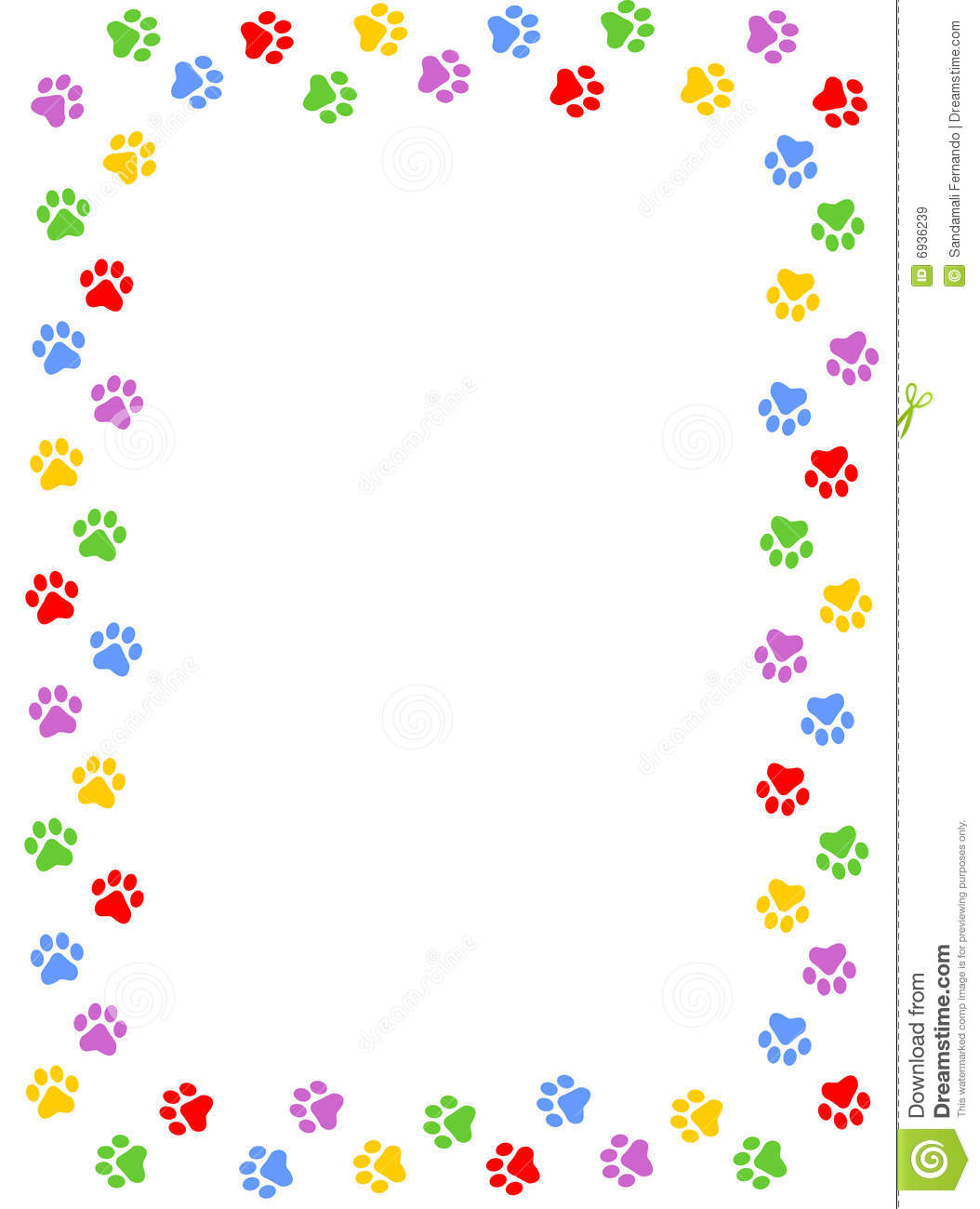 Black And White Polka Dot Wallpaper Border Paw Prints Border Stock Vector Illustration Of Background