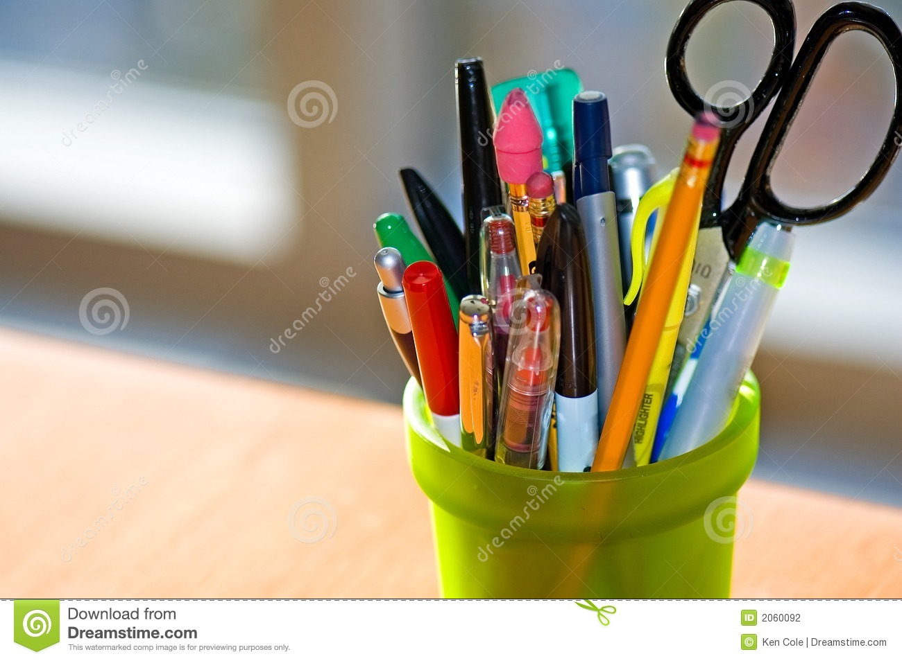 Pen And Pencil Holder For Desk Pen And Pencil Holder On Desk Stock Photography Image
