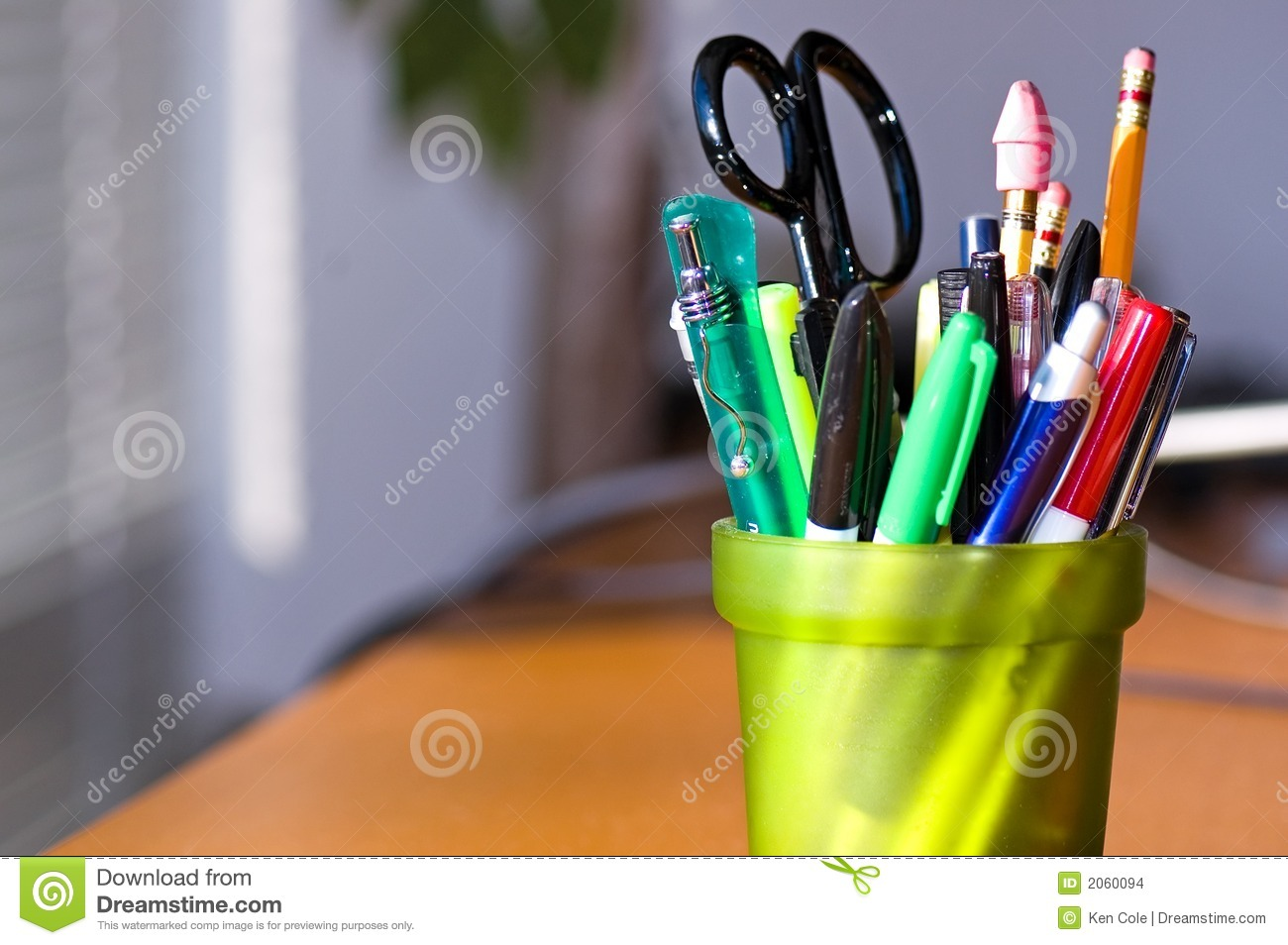 Pen And Pencil Holder On Desk Stock Photo Image Of