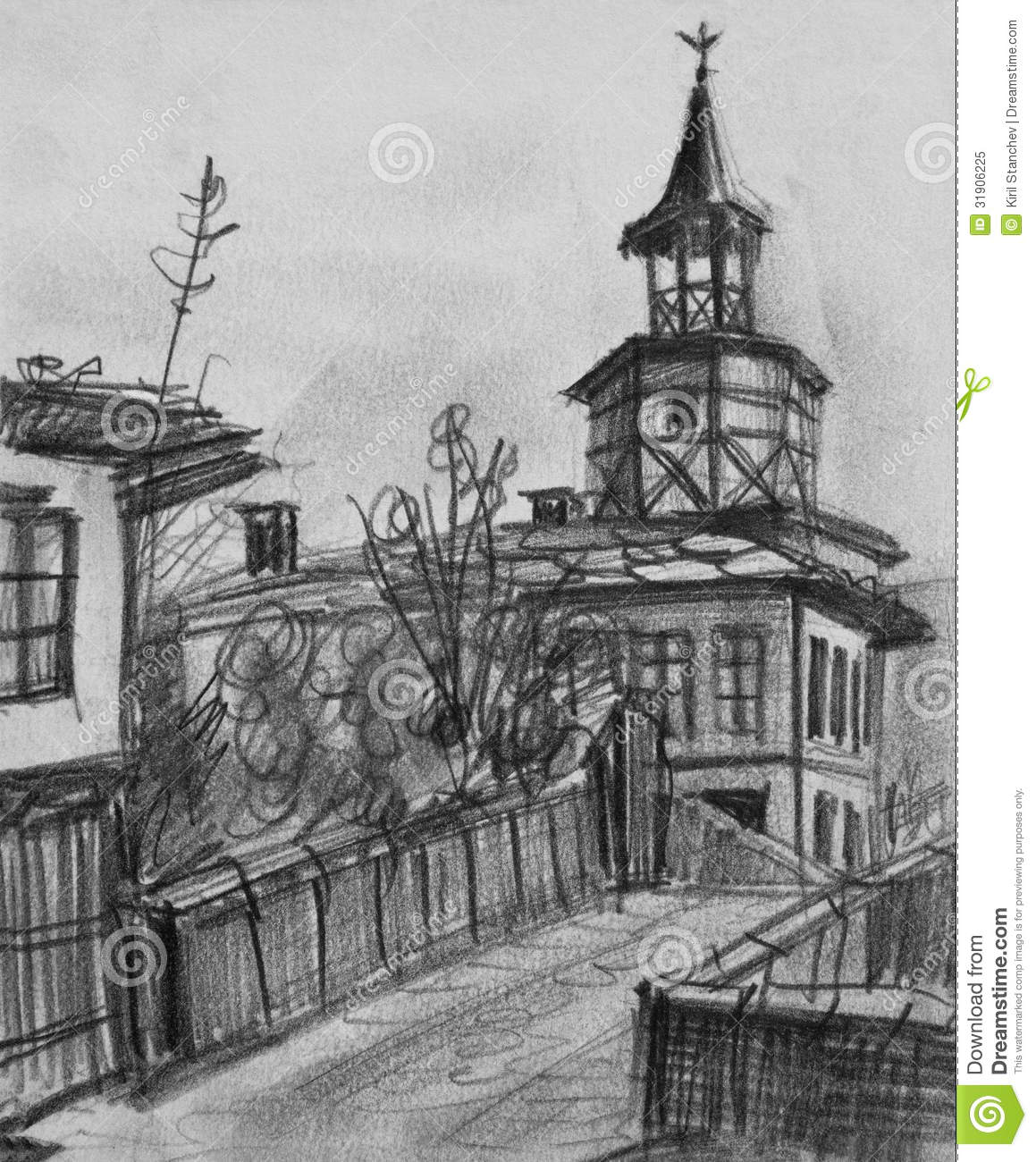 2 Fluchtpunktperspektive Stadt Pencil Drawing Of The Old Clock Tower In Tryavna Stock