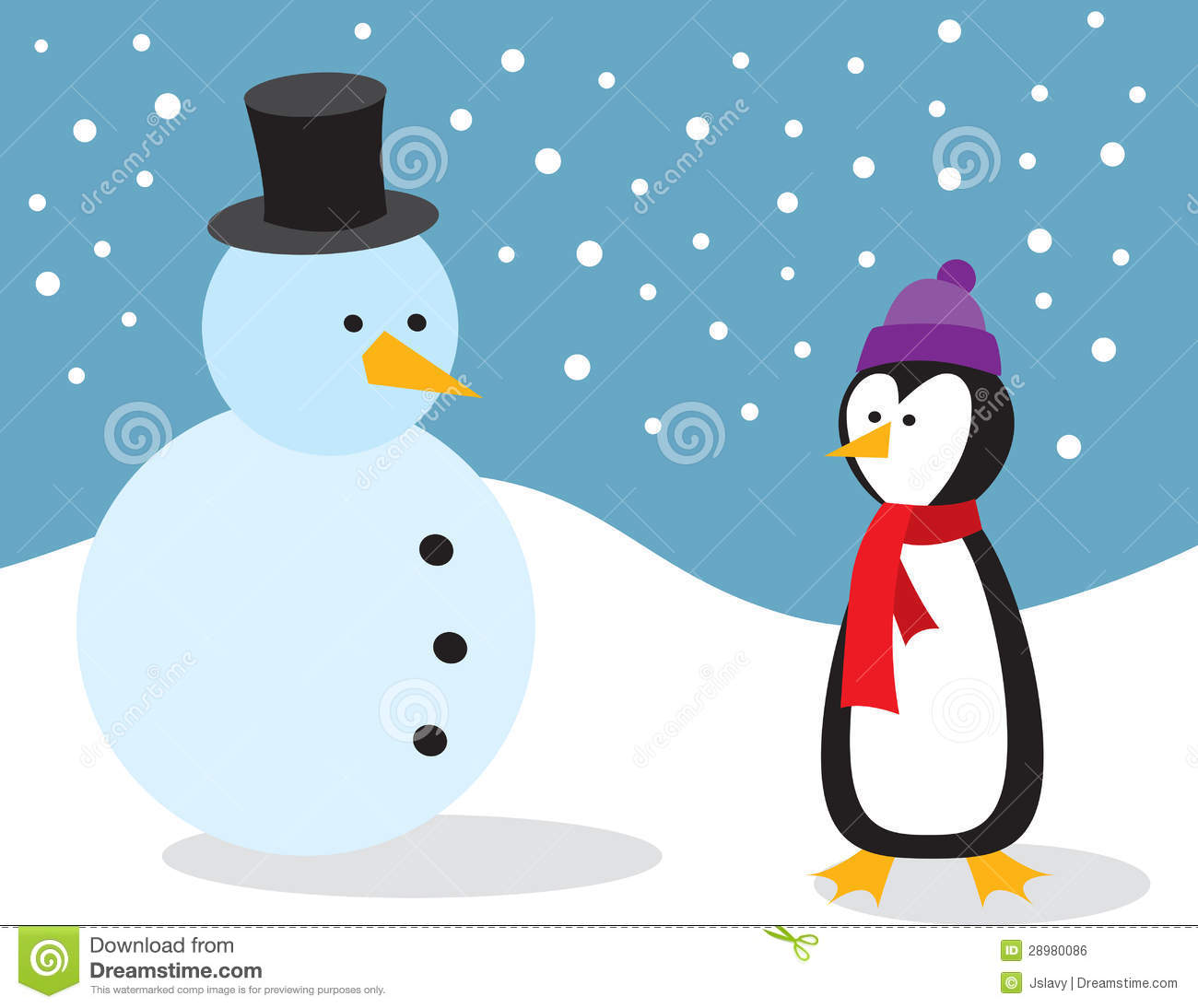 Car Wallpaper Themes Penguin With Snowman Royalty Free Stock Image Image