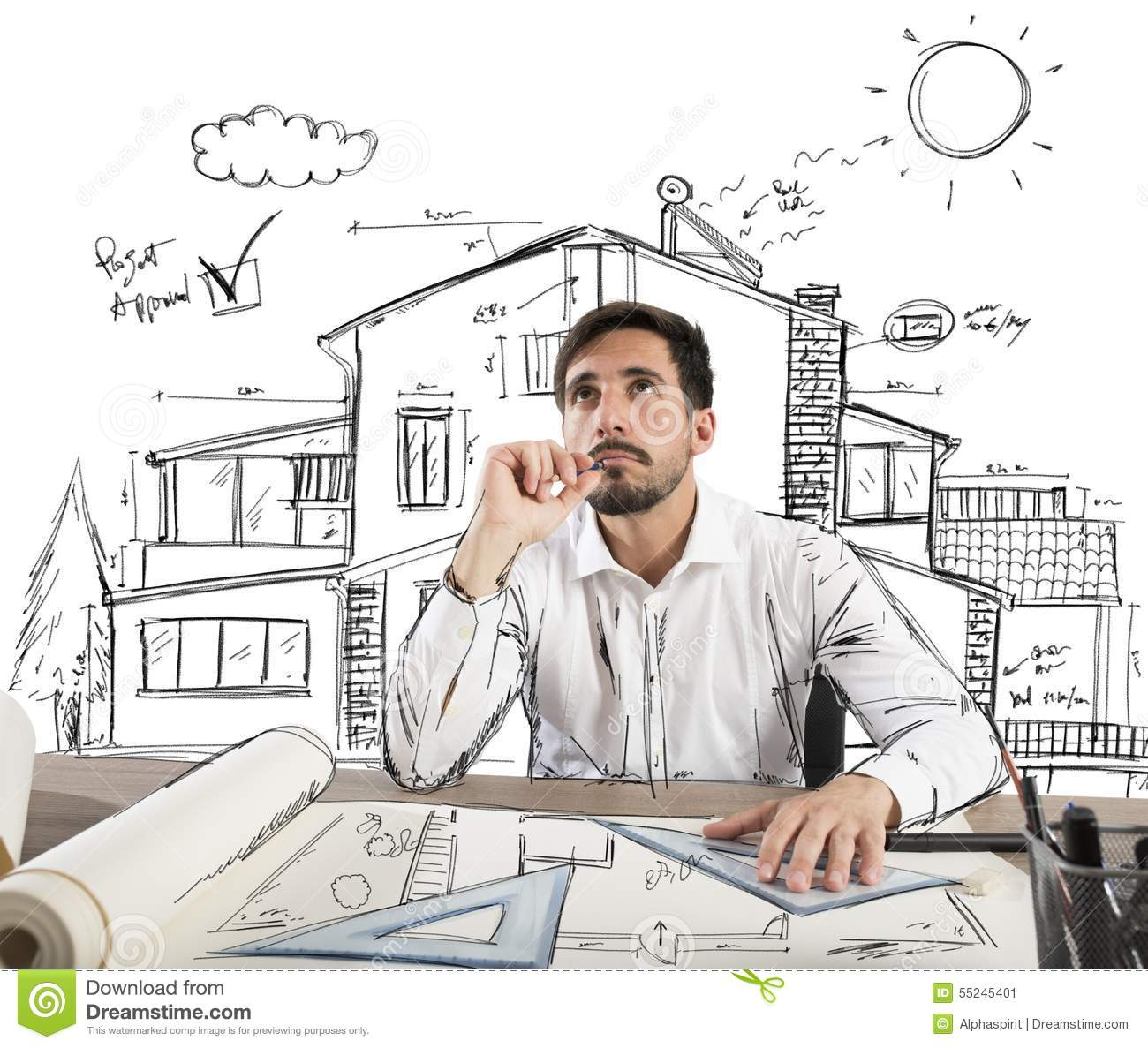 How To Be A Home Designer Pensive Architect Stock Photo Image 55245401
