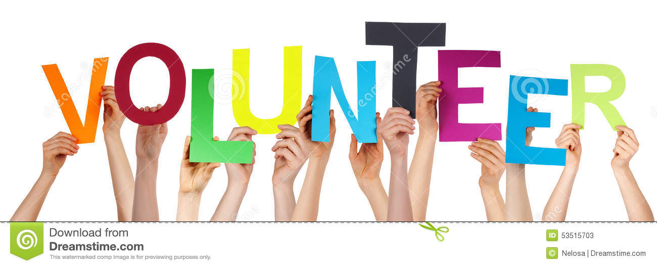 People Hands Holding Colorful Word Volunteer Stock Image - Image of