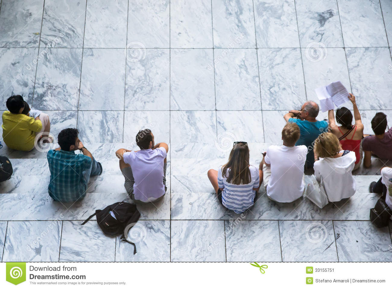 People Sitting On White Steps Editorial Photo Image Of