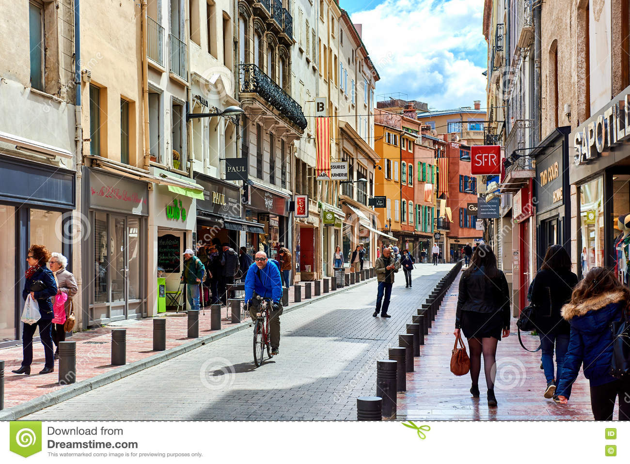 But Perpignan Perpignan Main Commercial Street In The Old Town France Editorial