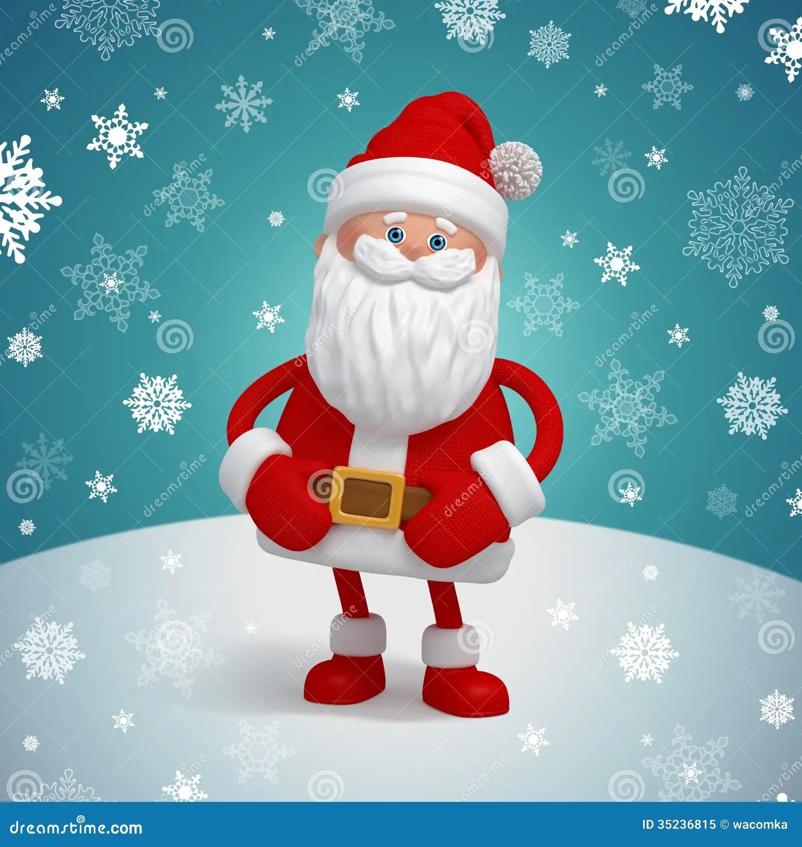 Christmas Wallpaper Snow Falling Personaje De Dibujos Animados Lindo De 3d Santa Claus Foto