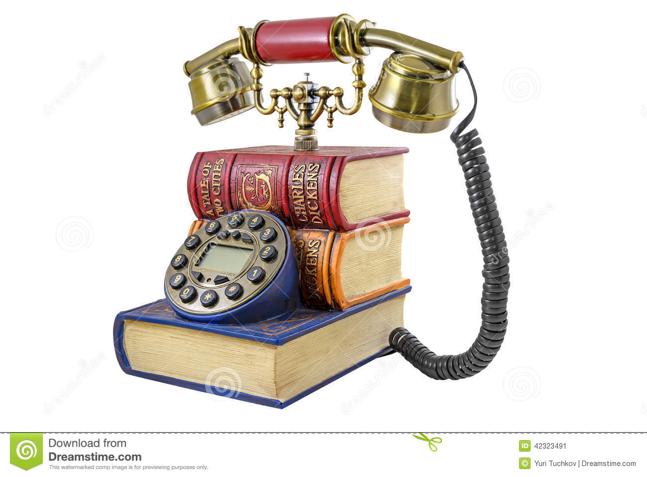 Libro The Wire Phone Stylized Under A Pile Of Books Stock Photo Image
