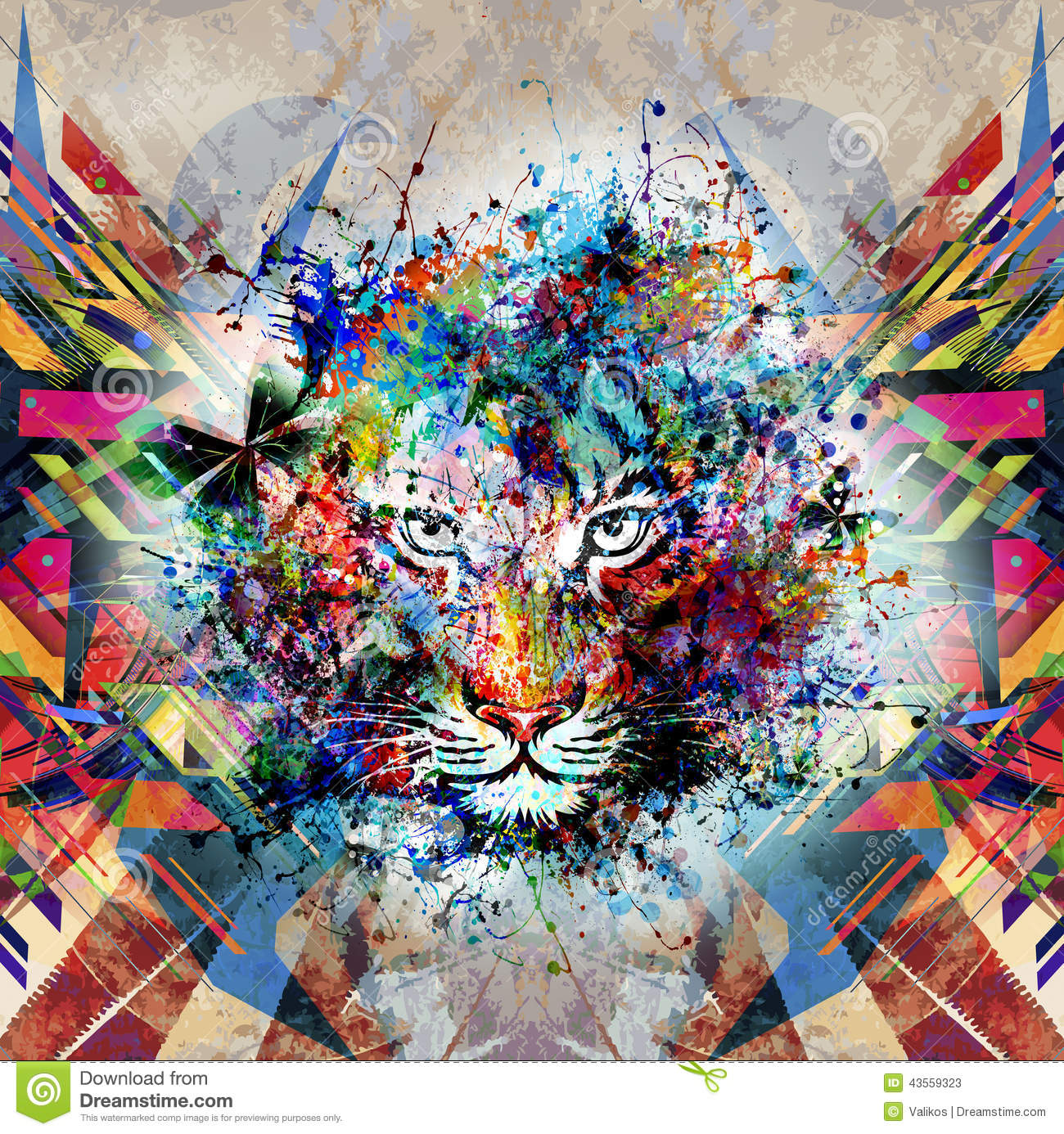 Deco Wallpaper 3d Photo D Art Abstrait Avec Le Tigre Illustration Stock