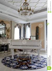 The Piano In The Luxury In The Living Room Stock ...