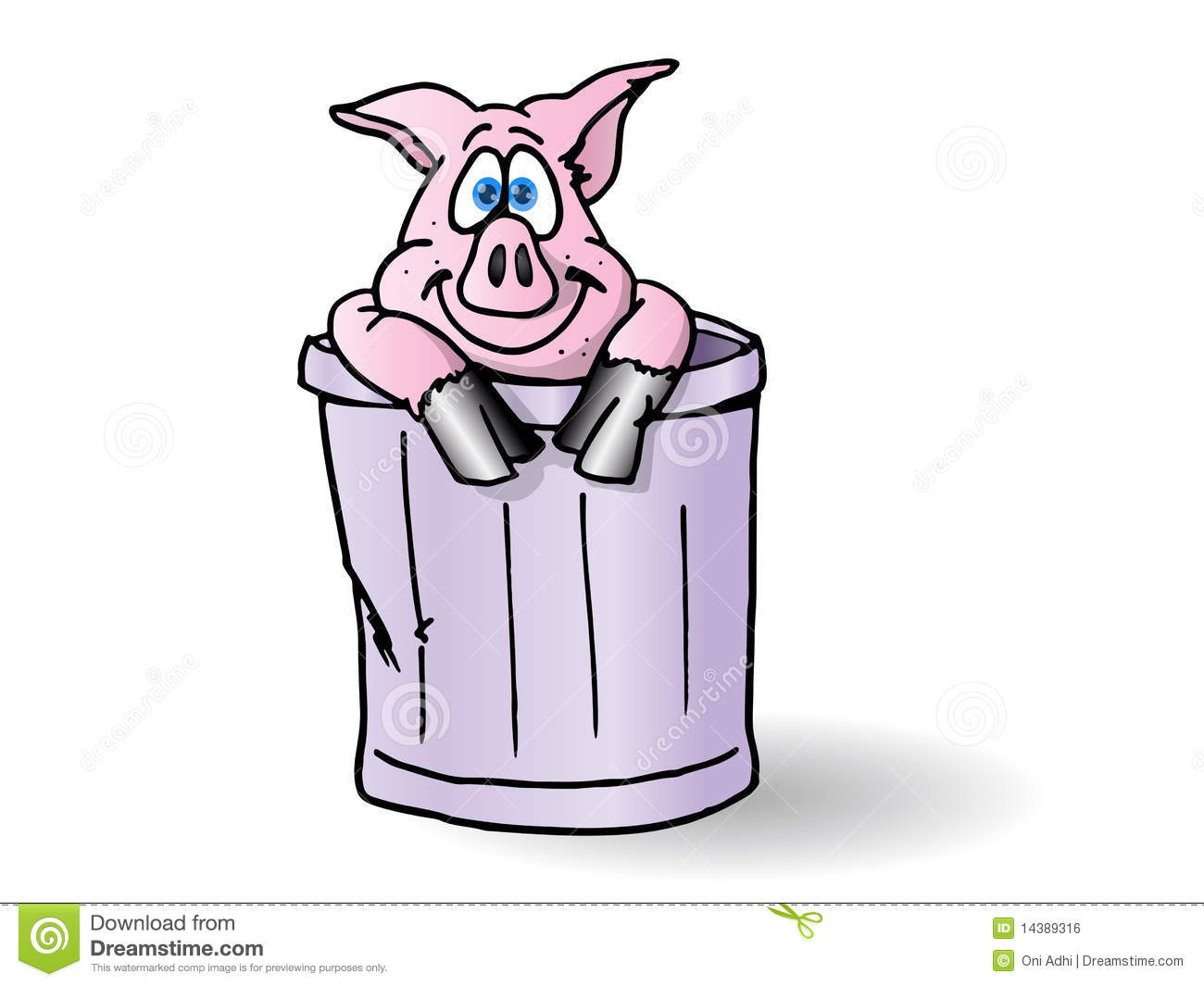 Vector Illustration Cartoon Trash Can Stock Auto Electrical York Wiring Schematics Model E1rc036s06d Pig In The Royalty Free Image
