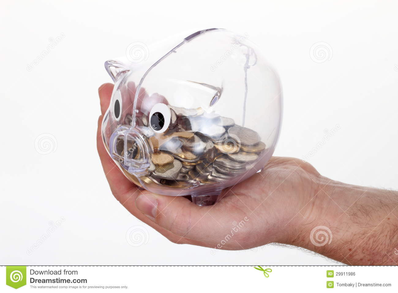 Piggy Glass Piggy Bank In Glass With Coins On Hand Royalty Free Stock