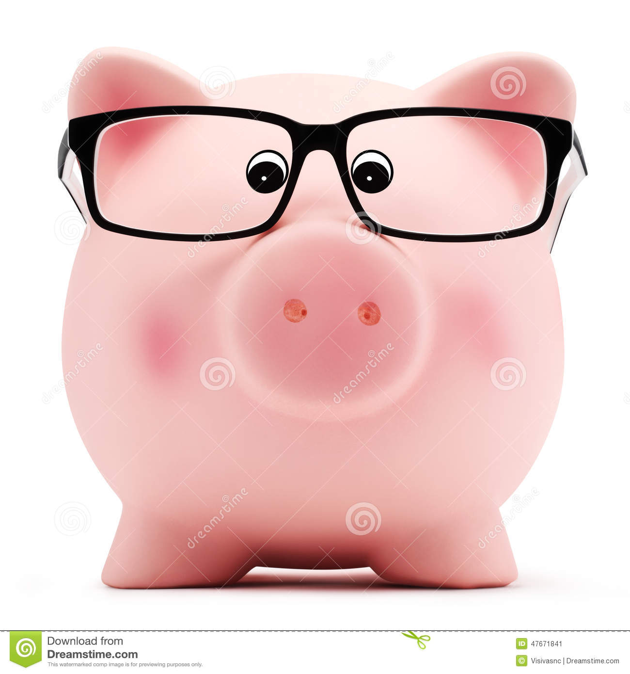 Piggy Glass Piggy Bank With Glasses On White Background Stock Photo