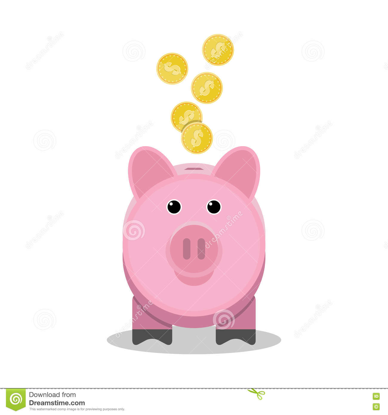 Coin Piggy Bank Toy Piggy Bank With Gold Coins Toy Pink Pig Money Box Stock
