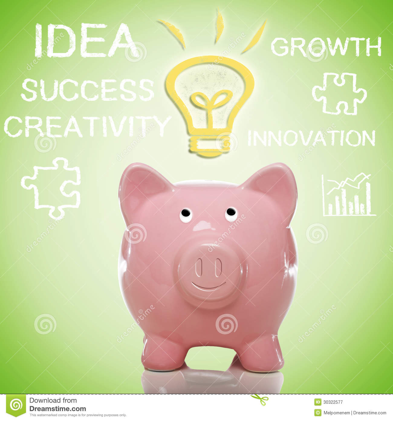 Piggy Bank Idea Piggy Bank With Idea Lightbulb Royalty Free Stock