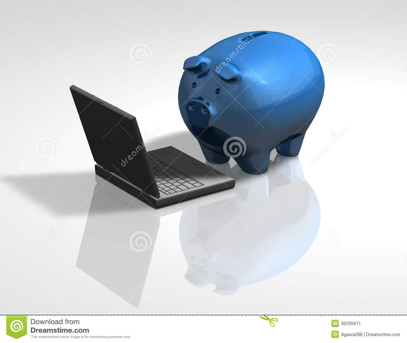 Piggy Bank Idea Piggy Bank With Laptop Financial Education And Information