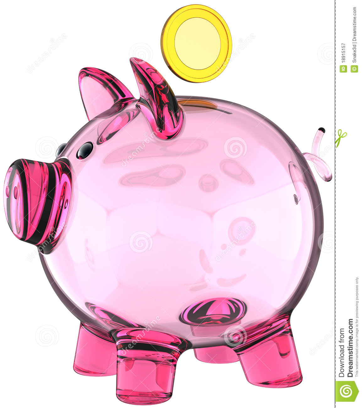 Piggy Glass Piggy Bank Pink Glass Translucent Royalty Free Stock