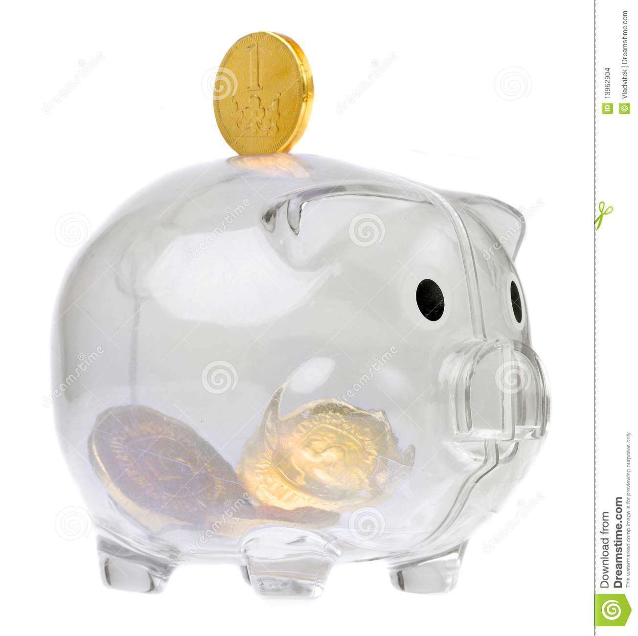 Piggy Glass Glass Piggy Bank With Us Bill Royalty Free Stock Image
