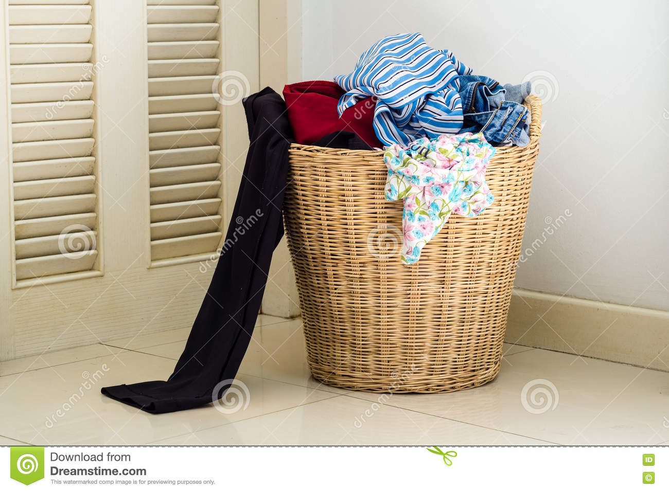 Dirty Laundry Baskets Pile Of Dirty Clothes In Washing Basket Stock Image Image Of