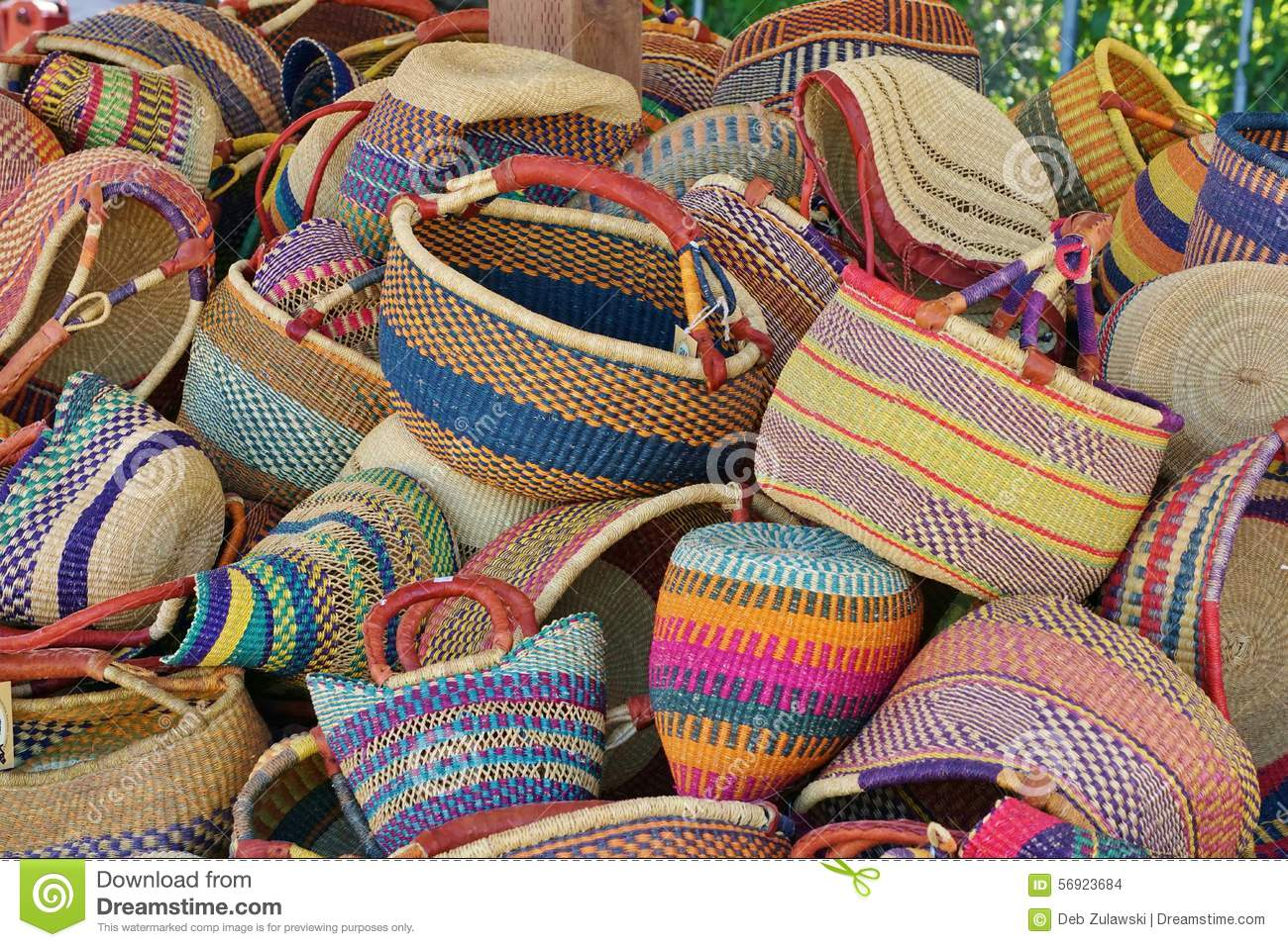 African Woven Hamper Pile Of Round Colorful Traditional African Woven Baskets