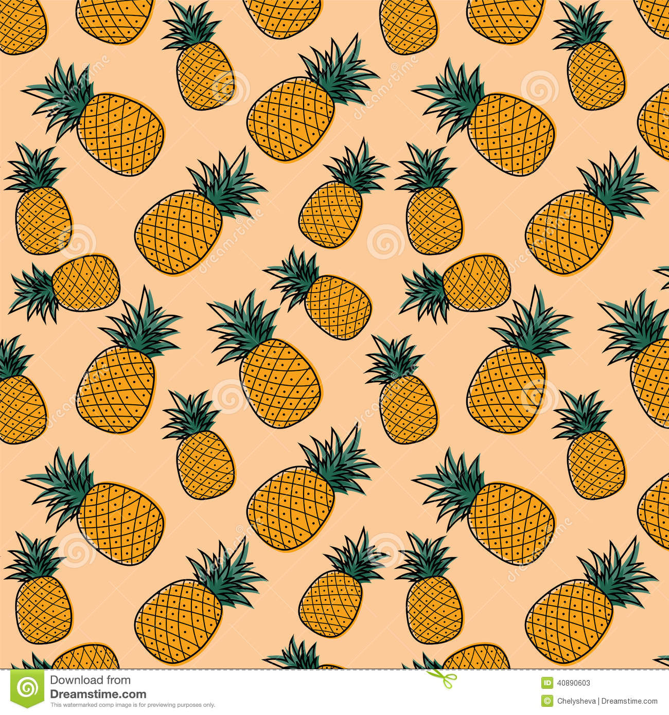 Cute Nutella Wallpapers Pineapple Pattern Stock Vector Illustration Of Pattern