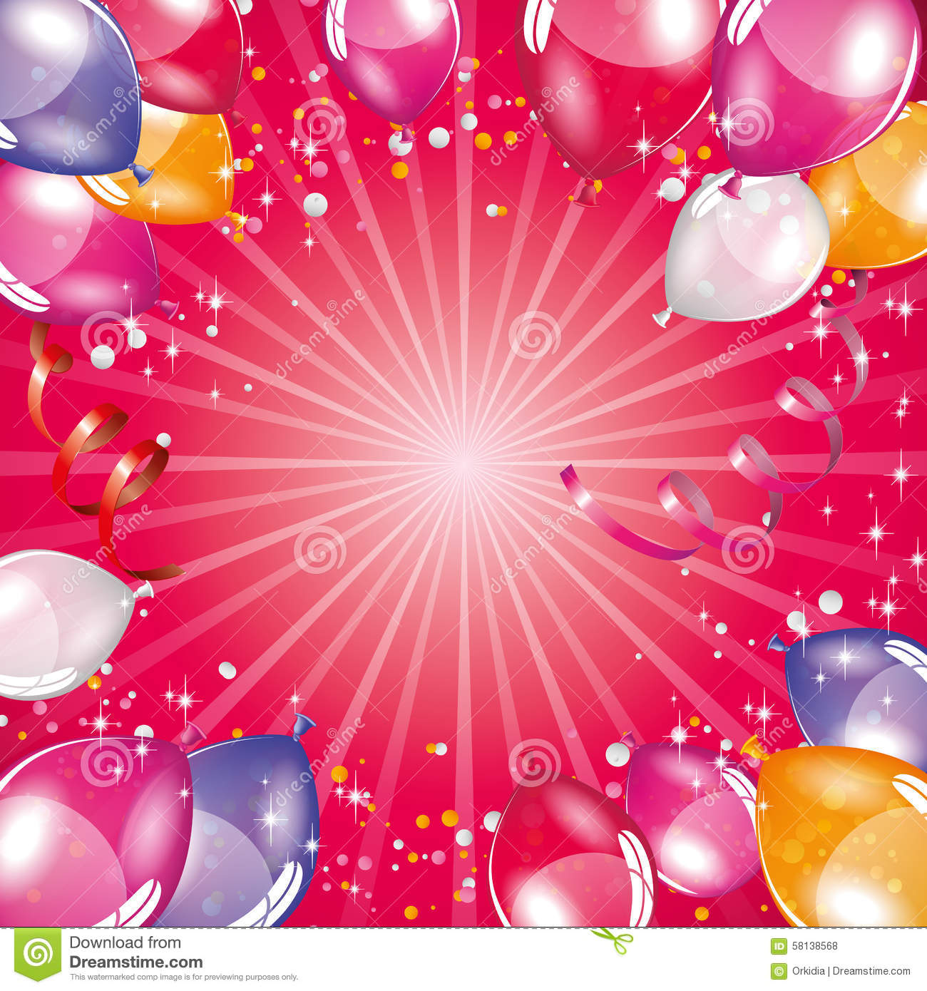 Pink balloons background stock vector image 58138568