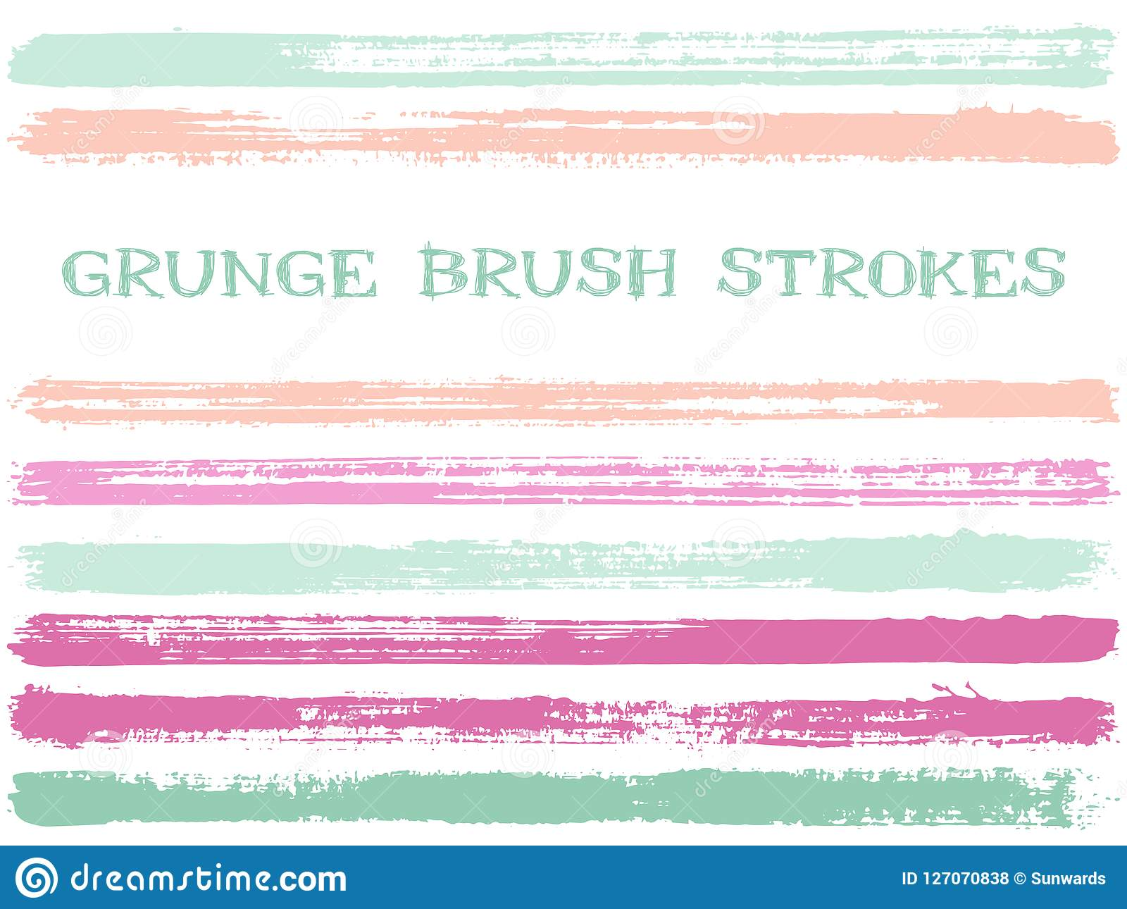 Cool Blue Paint Pink Blue Ink Brush Strokes Isolated Design Elements Set Of Paint