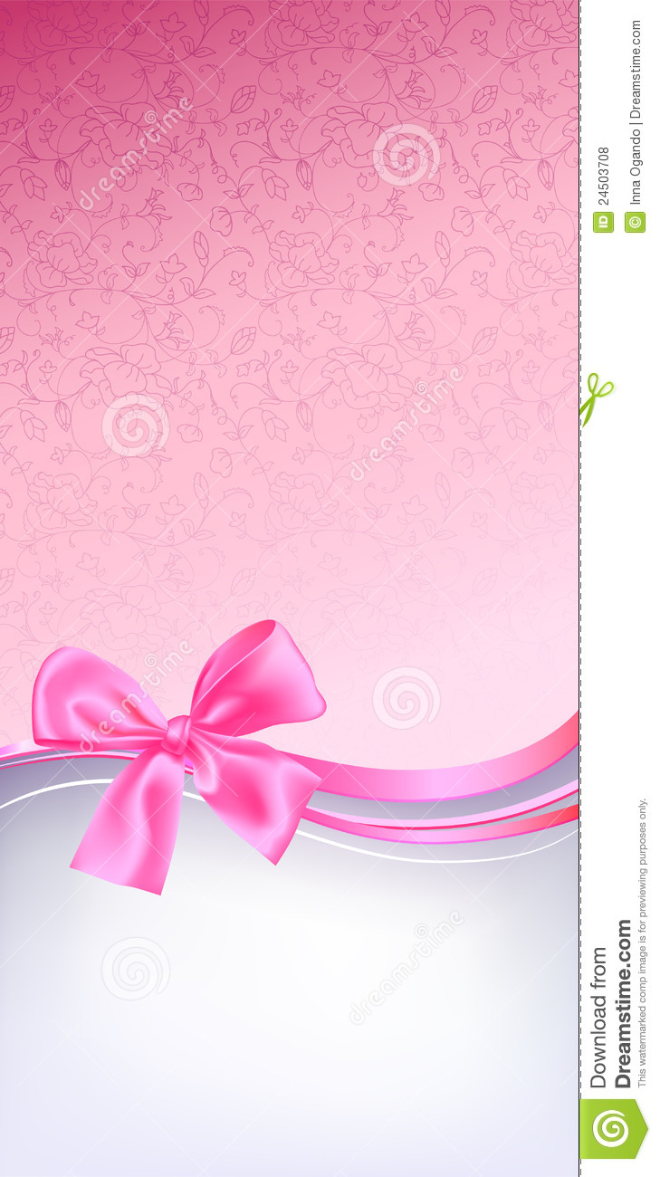 Illustration Decoration Pink Bow Background Stock Vector. Image Of Backdrop