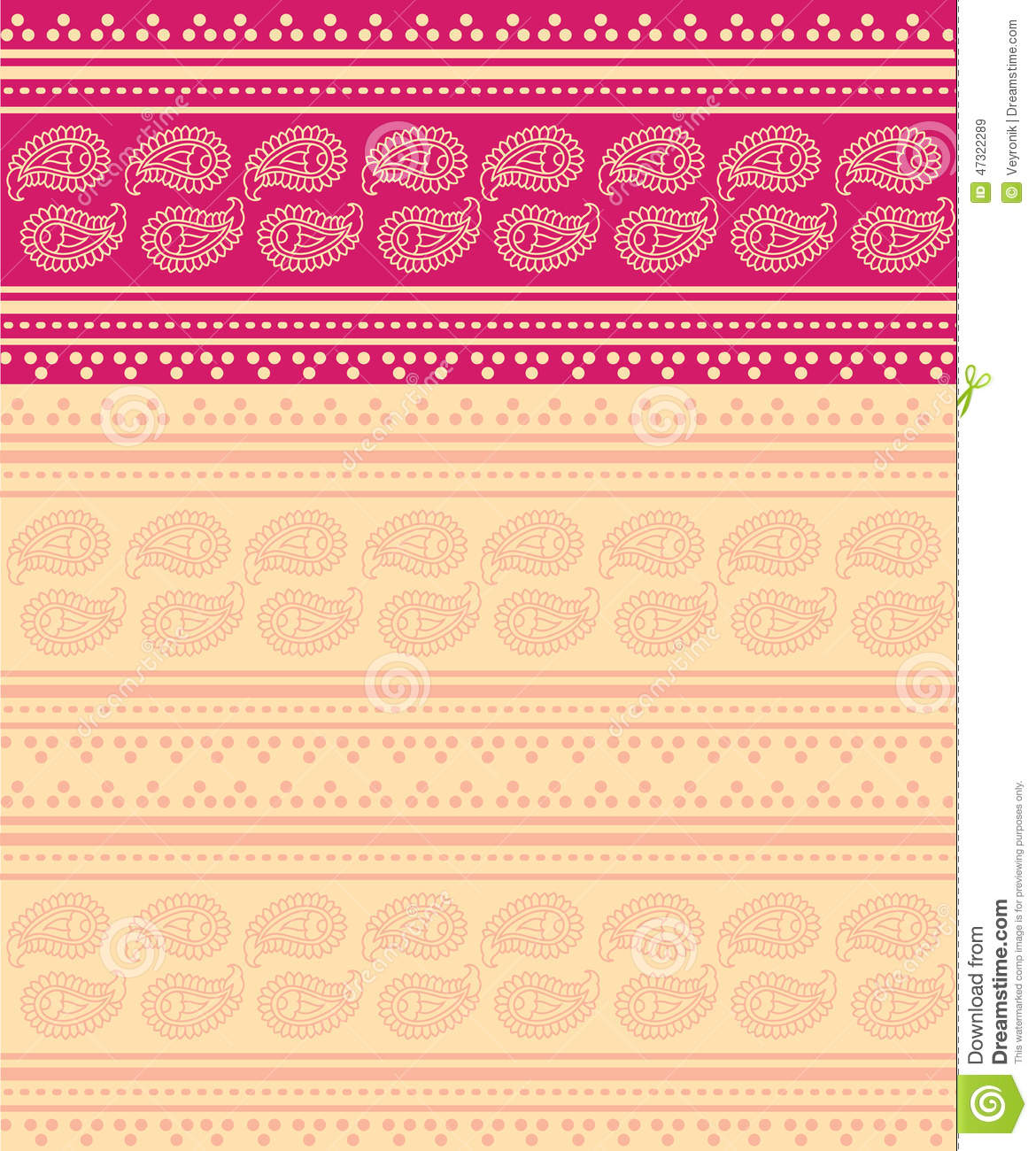 Red Indian Girl Wallpaper Pink And Cream Paisley Indian Saree Background Stock