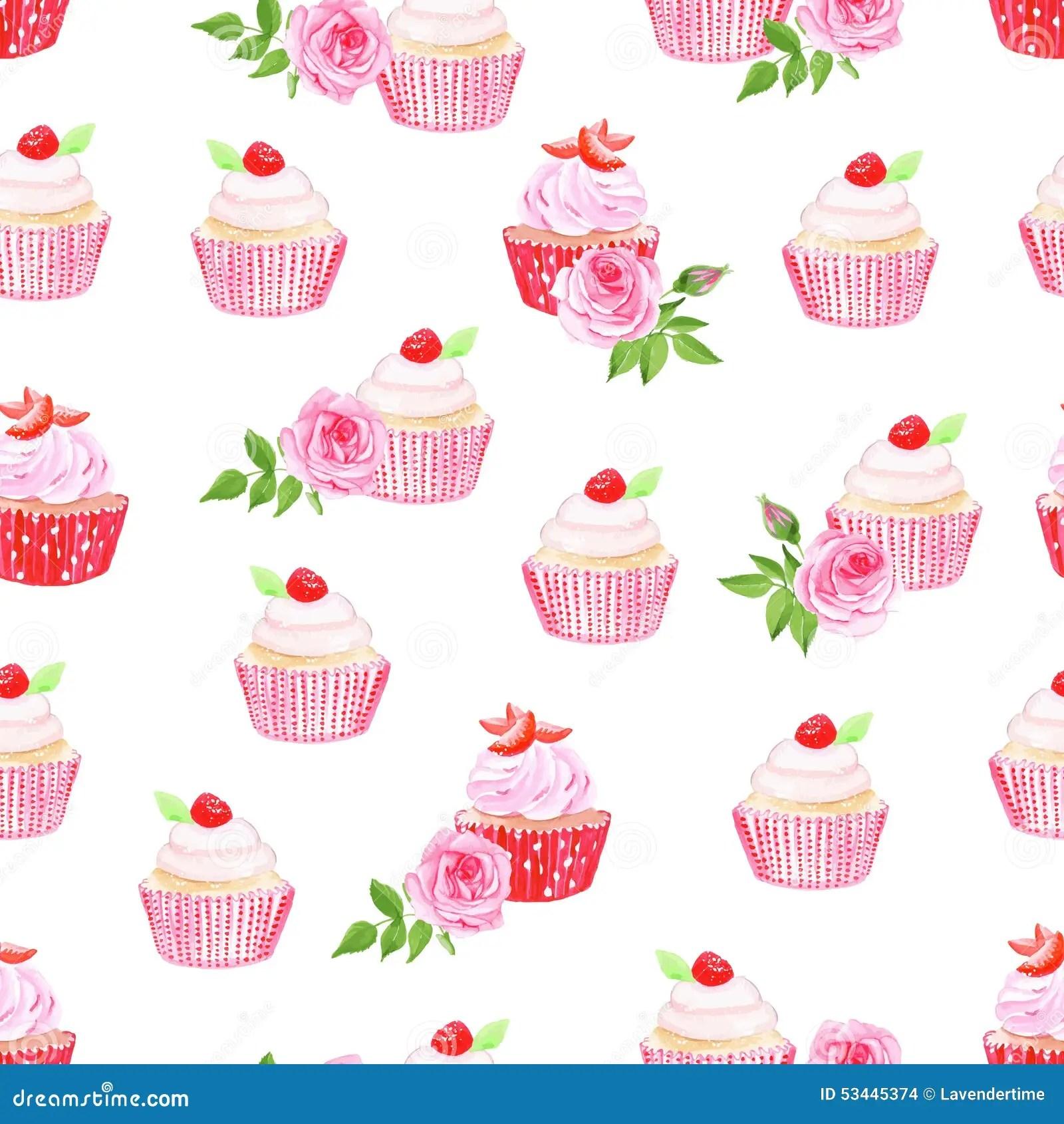 Bakery Wallpaper Hd Pink Cupcakes Vector Seamless Pattern Stock Vector Image