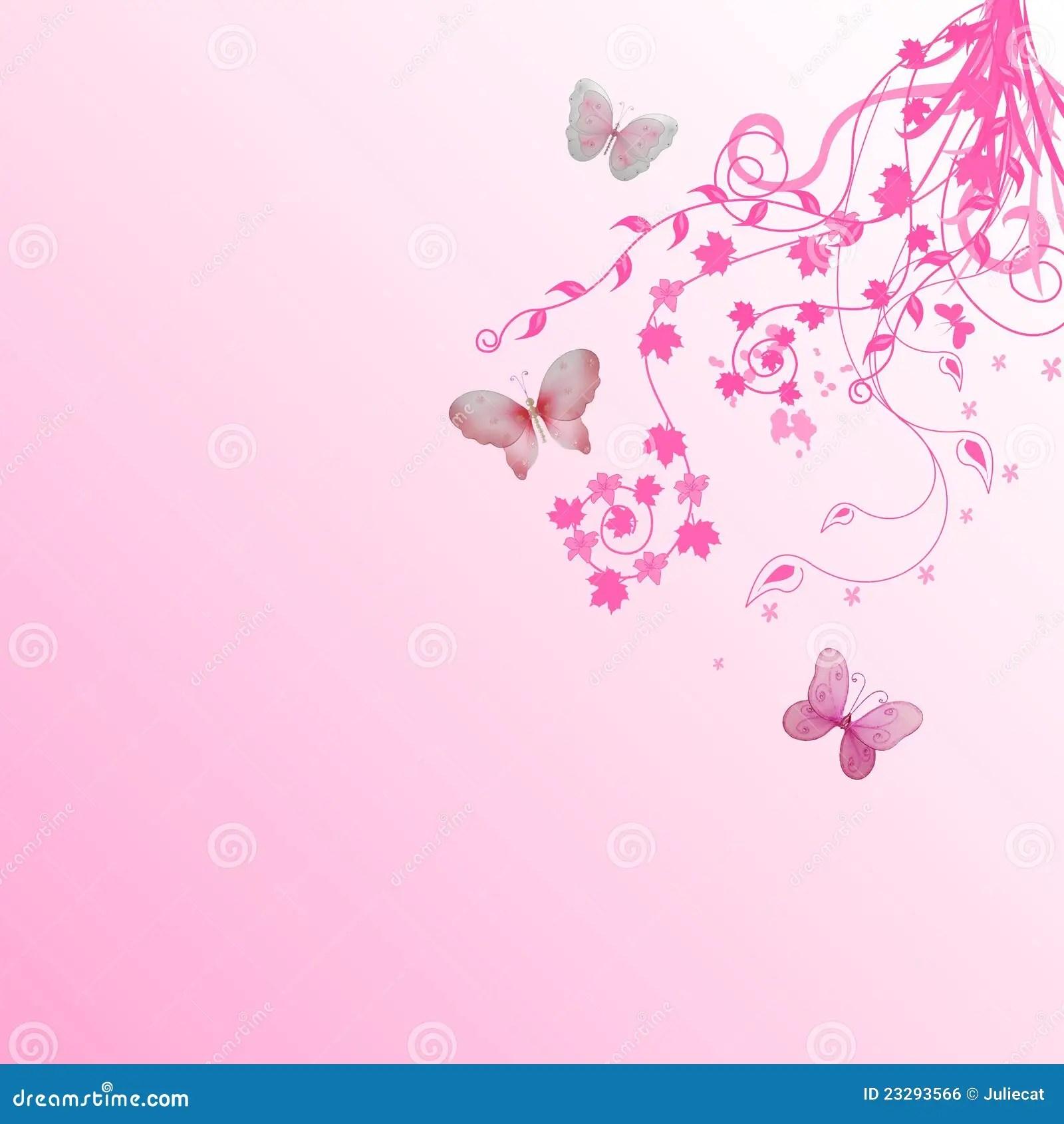 3d Wallpaper For Master Bedroom Pink Floral Butterflies Background Stock Illustration