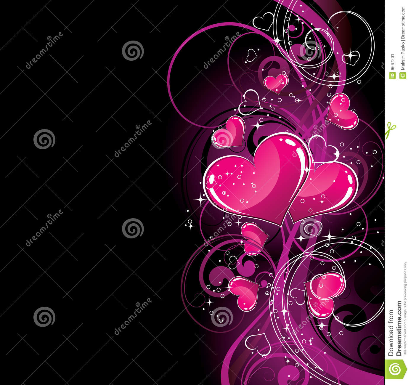 Breast Cancer 3d Wallpaper For Pc Pink Hearts On Black Stock Image Image 9667201