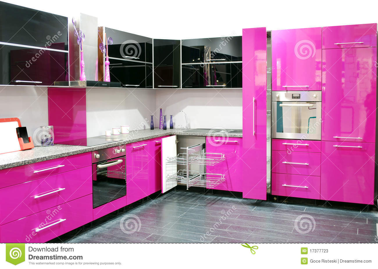Porta Küchen Pink Kitchen Stock Image. Image Of Contemporary, Style