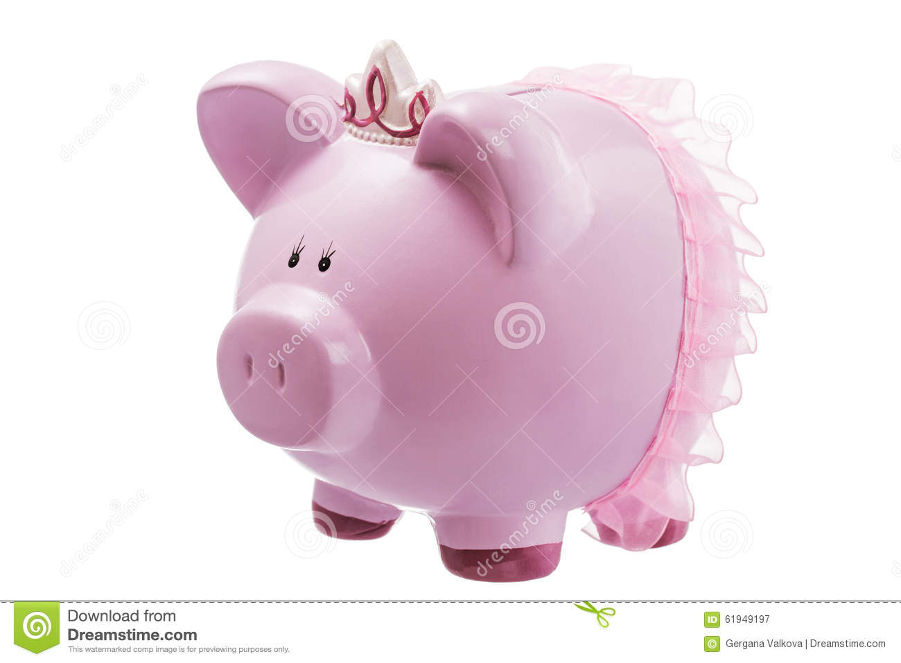 Pink Plastic Piggy Banks Pink Piggy Bank Princess Isolated On White Stock Photo