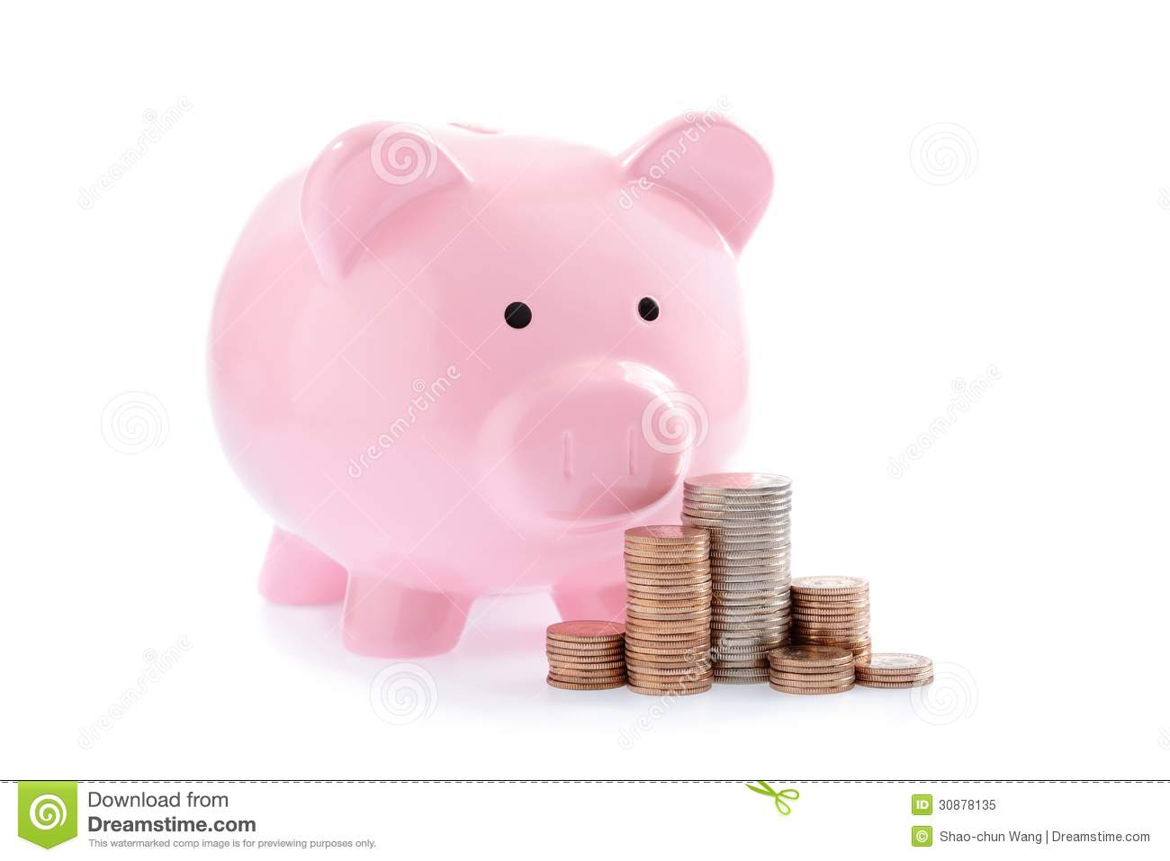 Pink Plastic Piggy Banks Piggy Bank Or Money Box And Coins Royalty Free Stock