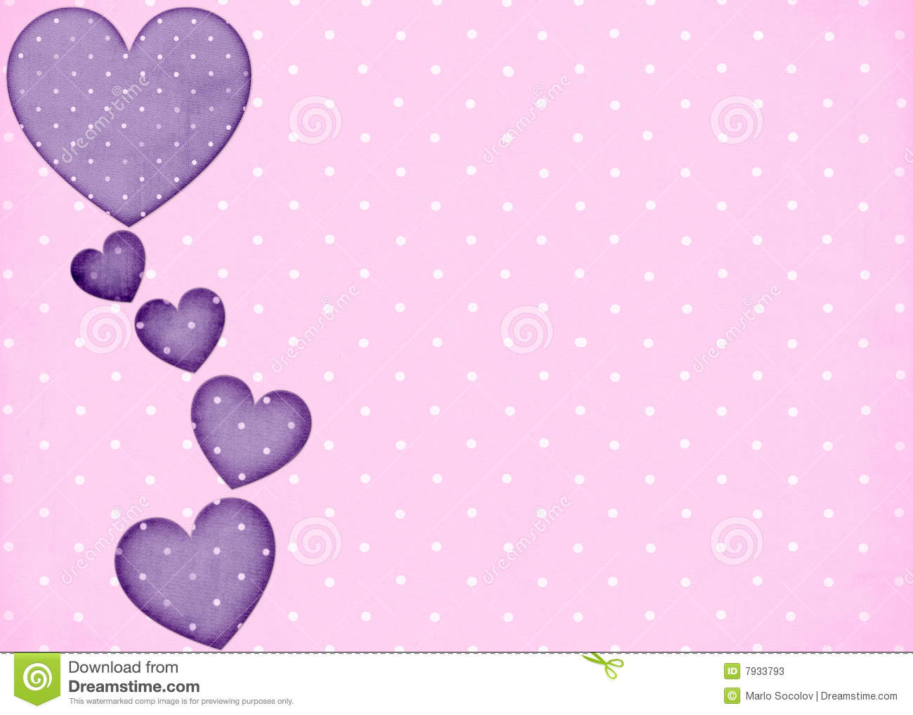 Baby Girl Wallpaper Borders Pink And Purple Pink Polka Dots Background With Purple Hearts Stock