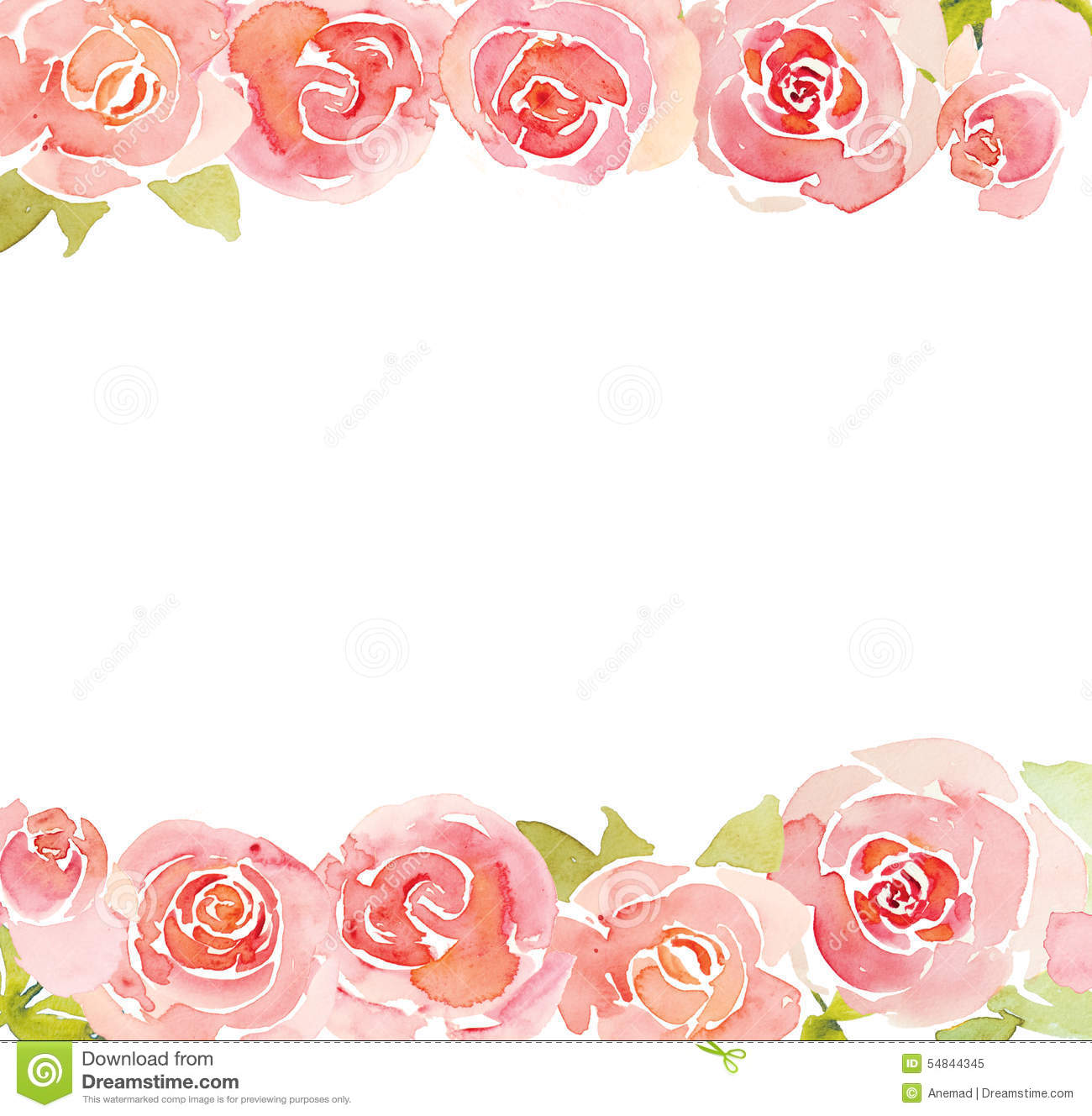 Baby Girl Wallpaper Borders Pink And Purple Pink Roses Flower Watercolor Background Stock Illustration