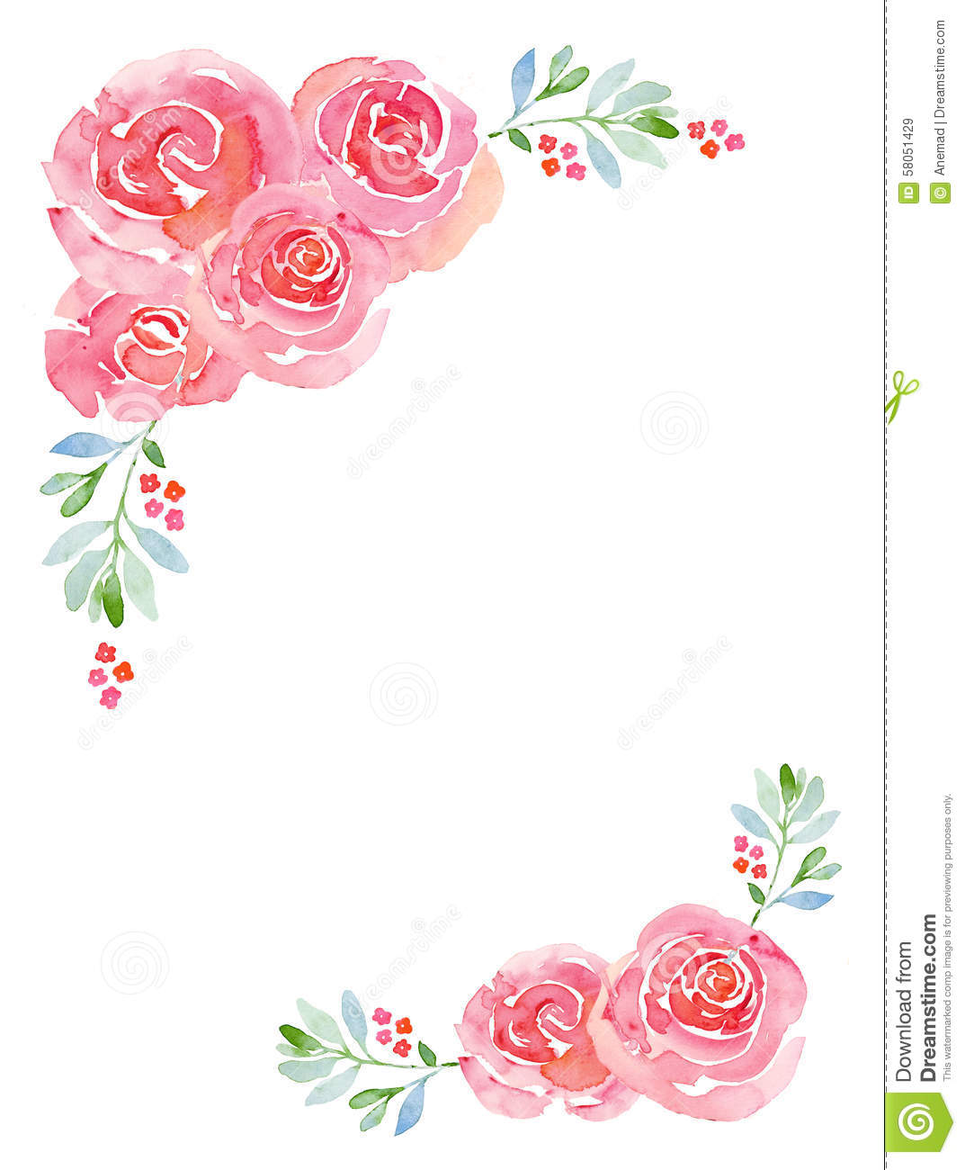 Fb Cover Wallpaper Cute Pink Roses Watercolor Floral Background Stock Illustration