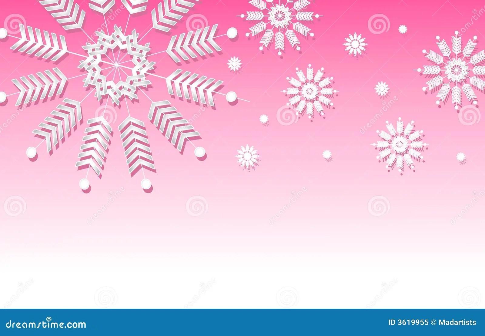 Snow Falling Wallpaper Download Pink Snowflake Background Border Stock Illustration