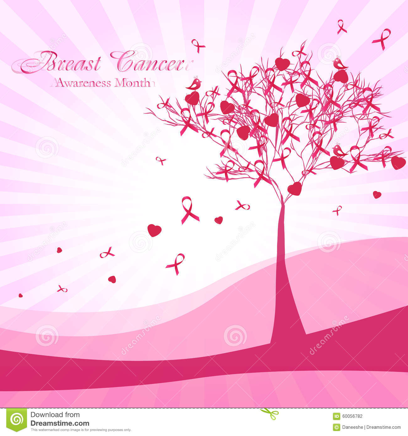 Bing Hd Wallpaper Fall Pink Tree With Ribbons And Hearts Breast Cancer Awareness