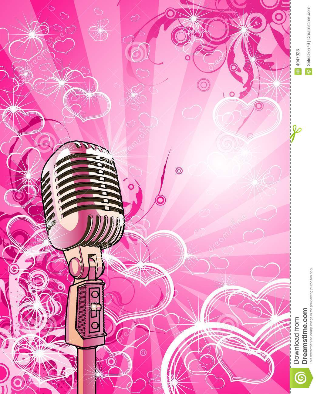 3d Abstract Rainbow Wallpaper Pink Valentines Microphone Royalty Free Stock Photos