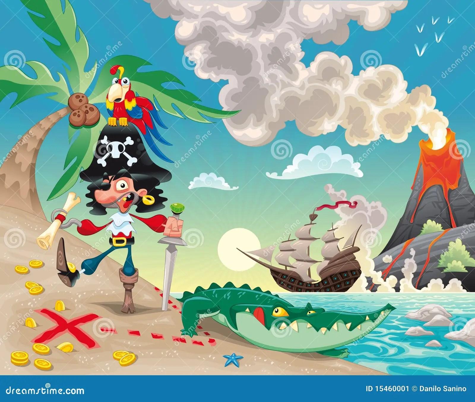 Cute Boy Cartoon Wallpaper Pirate On The Island Stock Vector Illustration Of Cute