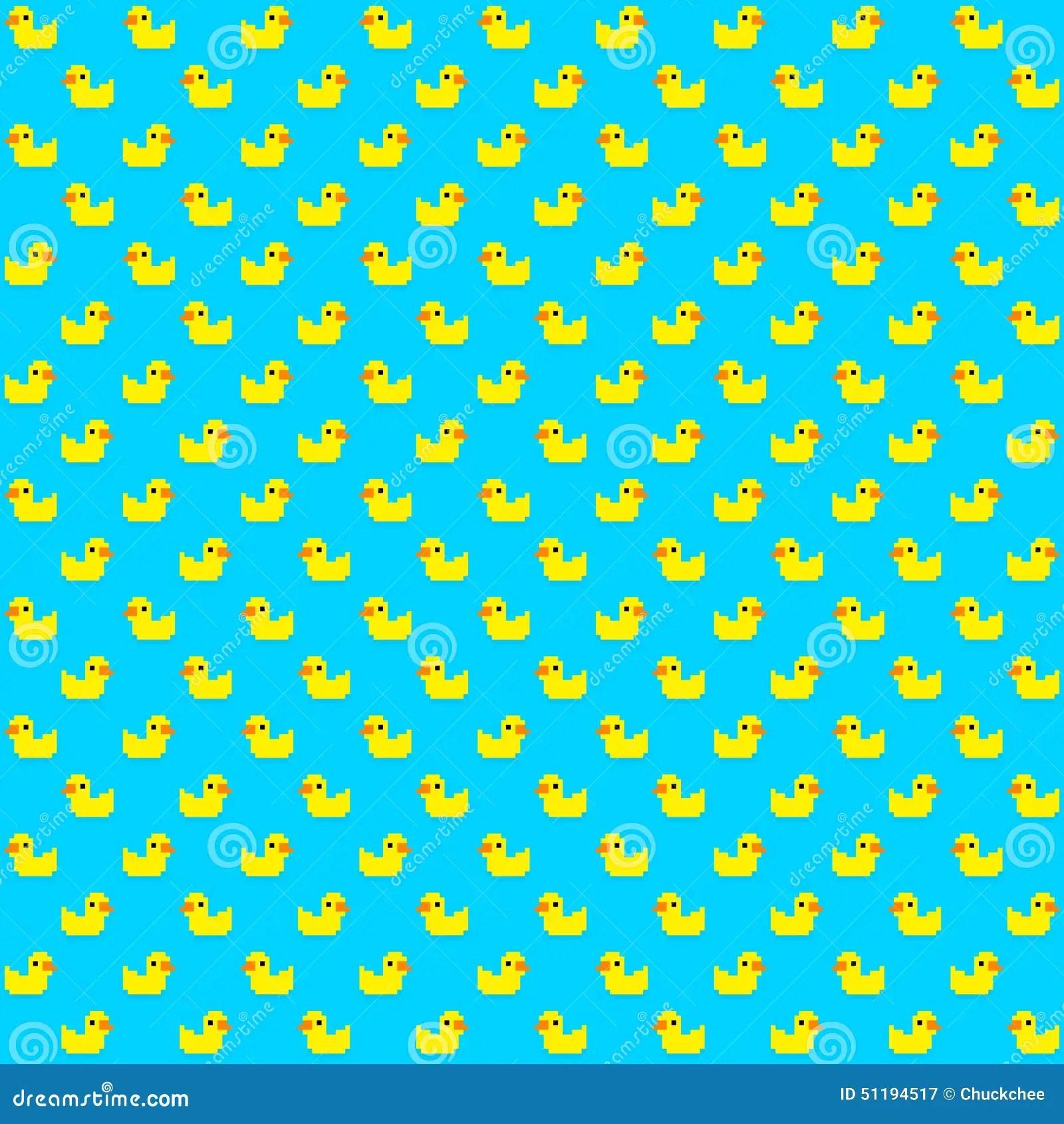 Cute Ducks In Water Wallpaper Pixel Duck Stock Vector Image 51194517