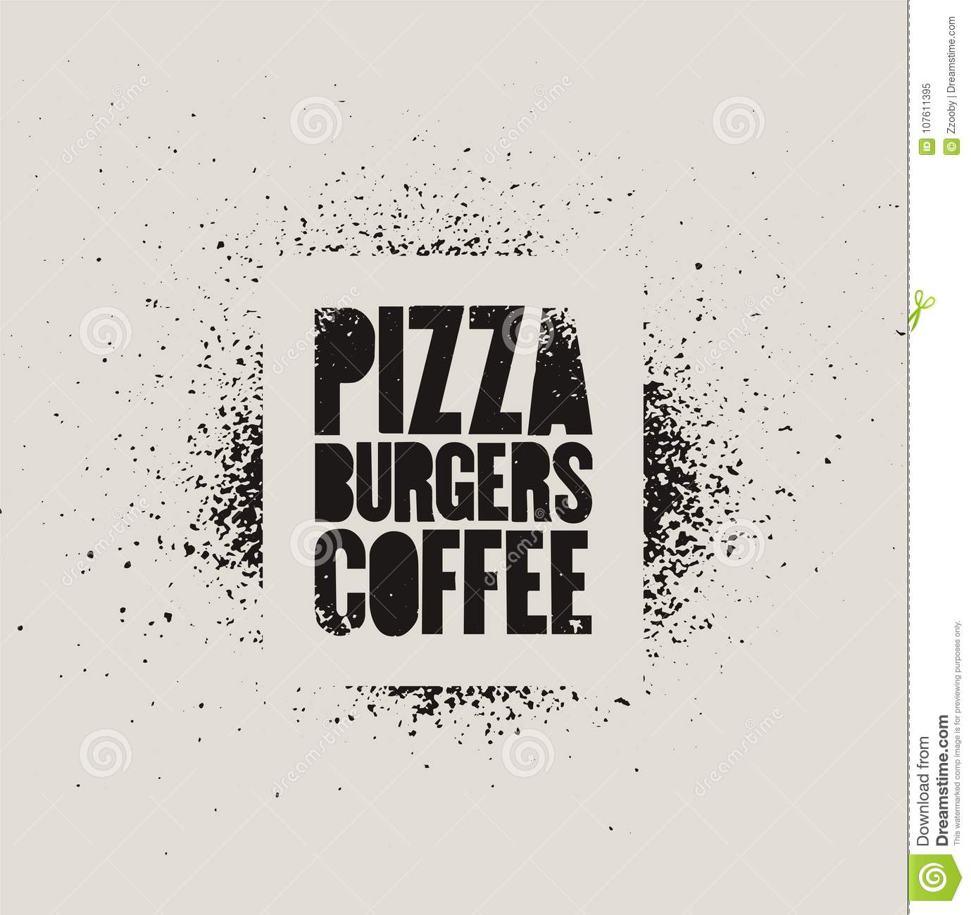 Arte Cafe Pizza Pizza Burgers Coffee Typographic Stencil Street Art