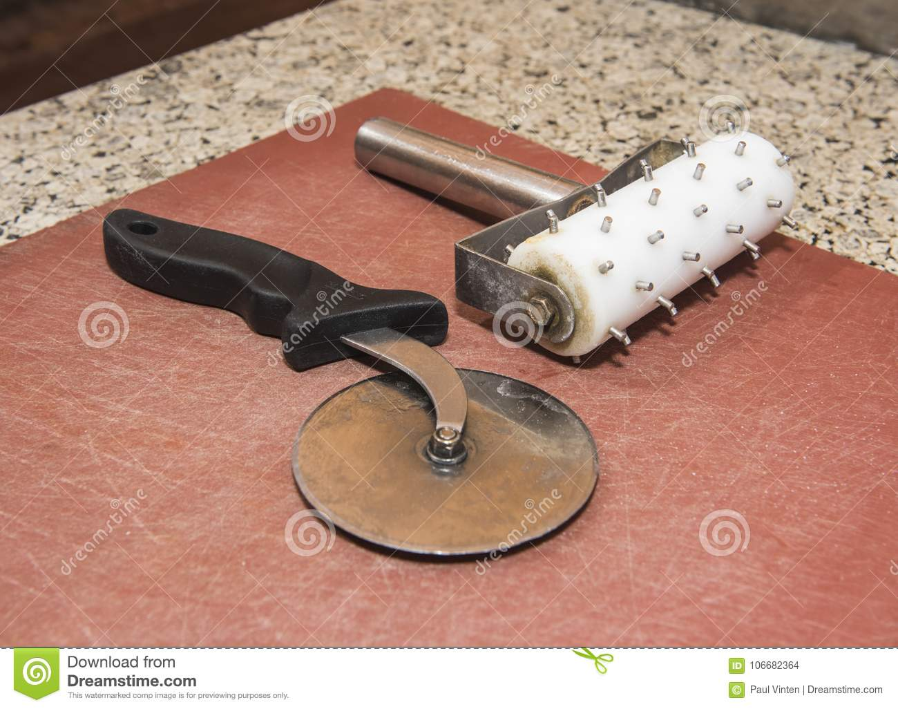 Pizza Roller And Cutter On Chopping Board At Snack Bar Stock Photo Image Of Pizza Dough 106682364