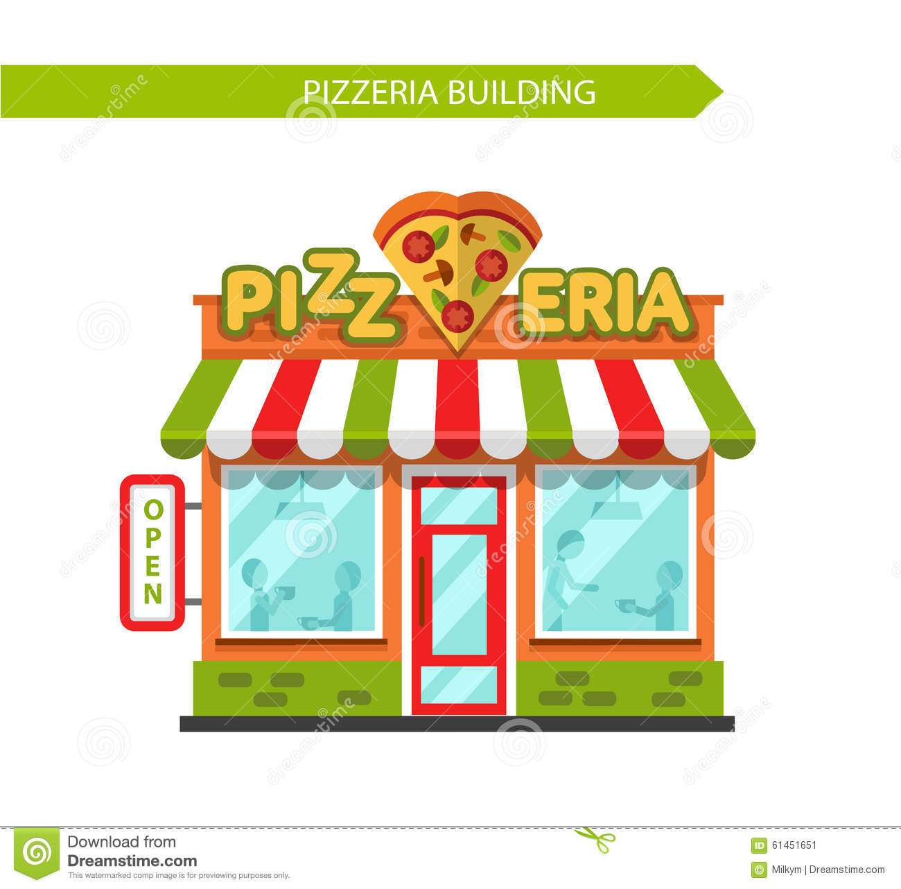 Arte Cafe Pizza Pizzeria Shop Building Stock Vector Illustration Of