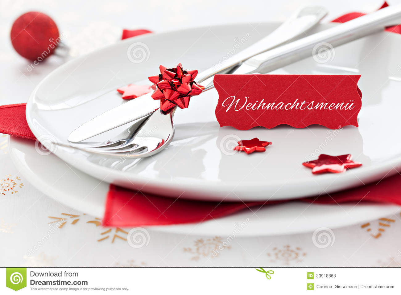 Tischgedeck Clipart Place Setting With Tag And German Text Royalty Free Stock
